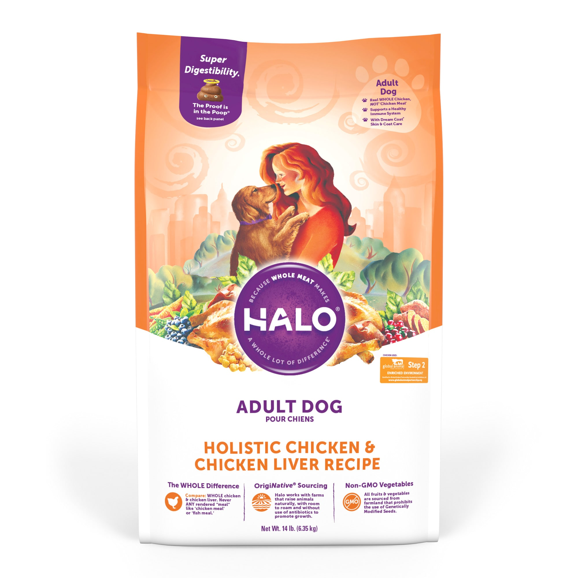Halo Adult Holistic Chicken & Chicken Liver Dry Dog Food, 14 lbs
