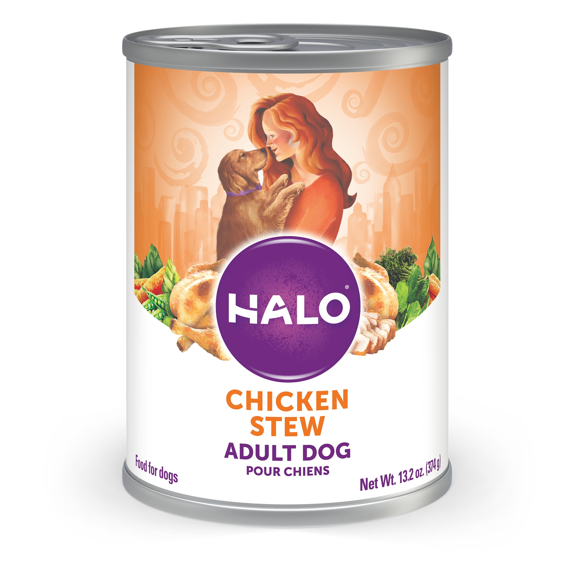 Halo Adult Holisitic Chicken Recipe Wet Dog Food, 13.2 oz., Case of 12, 12 X 13.2 OZ
