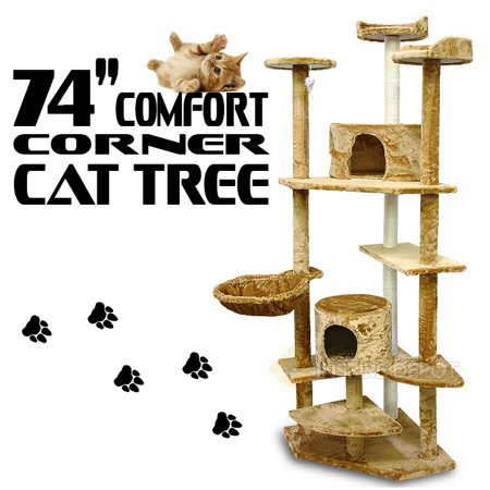 XtremepowerUS 74 Condo Cat Tree Scratching Posts Cat Hammock House