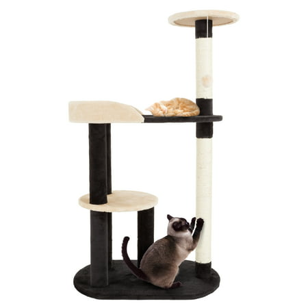 Cat Tree 3 tier 42.25 high with 2 scratching posts Black and Tan