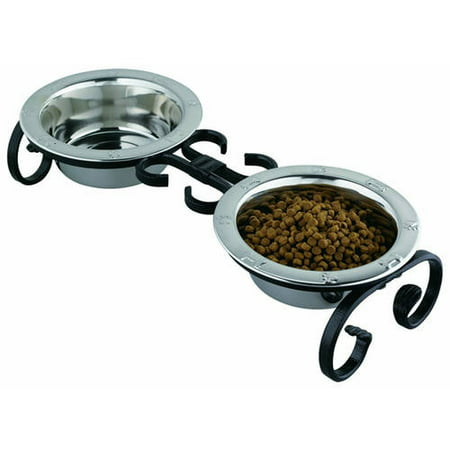 QT Dog Wrought Iron Diner with Stainless Steel Mini Black 4H 1 pt