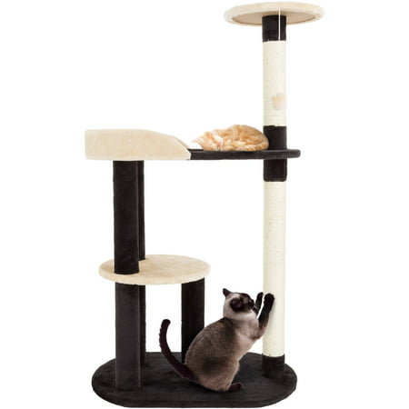 PETMAKER Cat Tree with Scratching Posts 3 Tier 42.25H Black  Tan