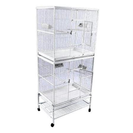 A and E Double Stack Flight Bird Cage Platinum