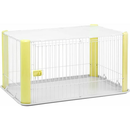 IRIS Large Wire Pet Play Pen with Roof Yellow