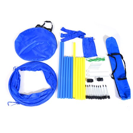 Pawhut Dog Obstacle Agility Training Kit  Blue and Yellow