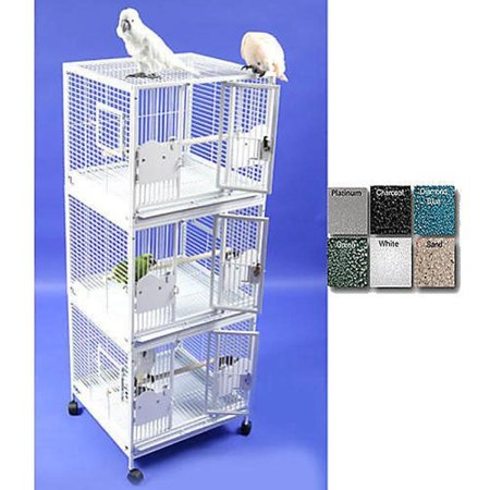 A and E Medium Triple Stack Bird Cage Black