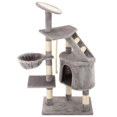 Ollieroo 48H Cat Climbing Tree Tower Condo Scratcher Furniture Kitten House Hammock with Scratching Post and Toys for Cats Kittens Playhouse Gray
