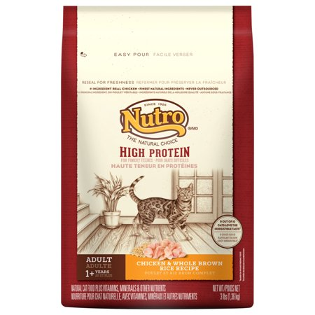 NUTRO High Protein Adult Cat Chicken and Whole Brown Rice Cat Food for Finicky Felines 3 Pounds