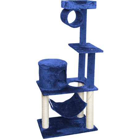 Premium Cat Tree Tower Condo Scratch Furniture 55 Blue and White