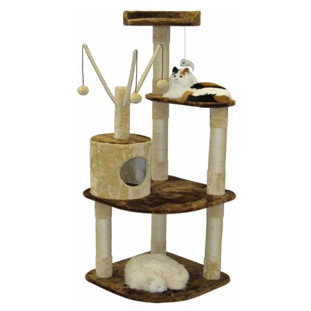 Go Pet Club Brown and Beige Cat Climber Furniture Condo  60 in.