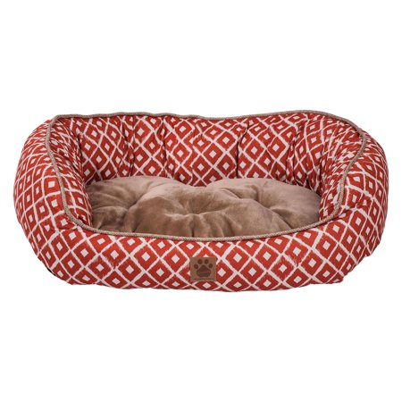 Precision Snoozzy IKAT Daydeamer Pet Bed  Orange  Small  26 x 22 in.