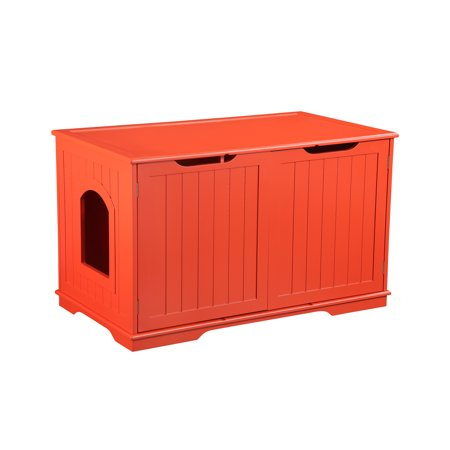 PetHupHup Cat Sounana Bench Litter Box Enclosure Cherry