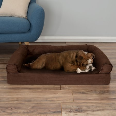 Dog Bed Orthopedic Pet Sofa Bed with Memory Foam and Foam Stuffed Bolsters 35.5 x 24 x 8 Brown