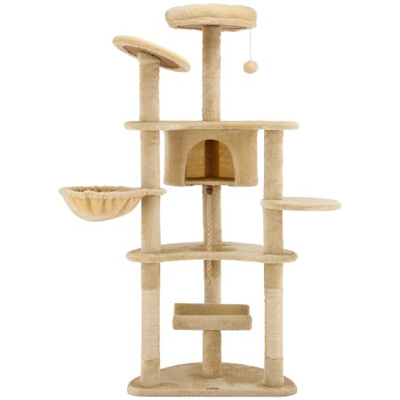 Ollieroo Cat Tree Furniture Tower Climbling Activity Tree Scratcher Play House Condo Hammock with Scratching Post and Toys 60H Beige