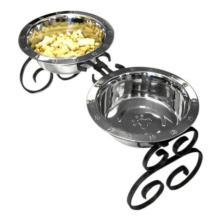QT Dog Wrought Iron Diner with Stainless Steel Mini Silver 4H 1 pt