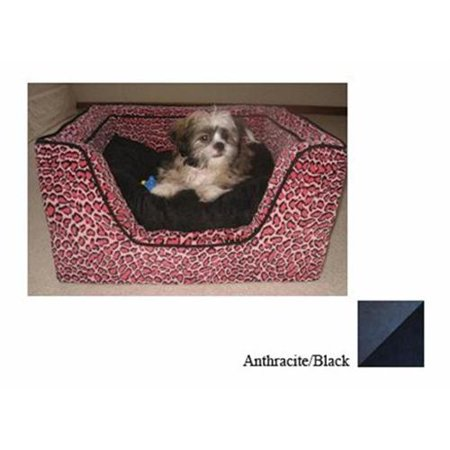 Luxury Square Pet Bed With Memory Foam  Extra LargeAnthraciteBlack