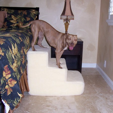 Pet Stairz Big Dawg Foam 3 Step Pet Stair With Sherpa Cover