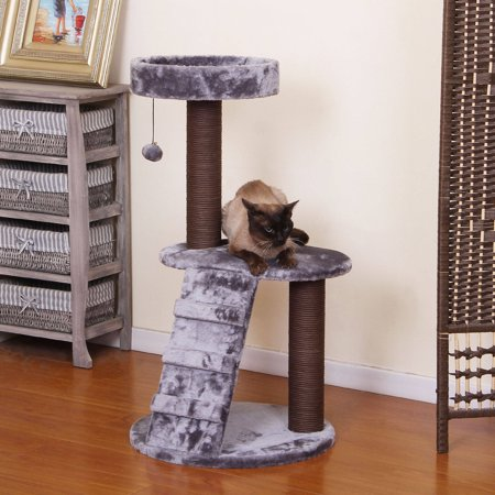 PetPals Group Trellis Chocolate and Metallic Color Perch with Padding and Ladder