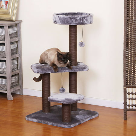 PetPals Group Unwind Chocolate and Grey Color Cat Tree 2 Level Perches