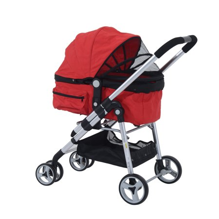 Pawhut Four Wheel Cat Dog Pet Stroller  Red