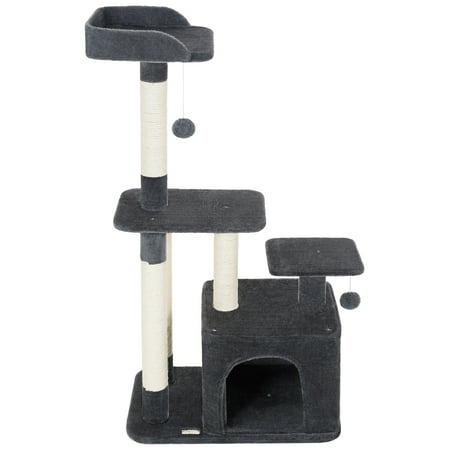 Ollieroo 45 Cat Tree Scratcher Post Furniture Kitten Activity Tower Solid Condo Play House Dark Gray