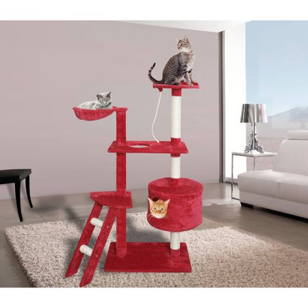Premium Cat Tree Tower Condo Scratch Furniture 58 Red and White