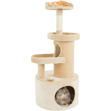PETMAKER Cat Tree Condo with Tunnel and Scratching Post 4 Tier 43H Tan
