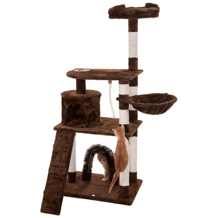 Ollieroo Cat Tree Furniture Tower Climbling Activity Tree Scratcher Play House Condo Hammock with Scratching Post and Toys 55H Brown