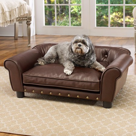 Encanted Home Pet Brisbane Tufted Sofa Dog Bed Brown