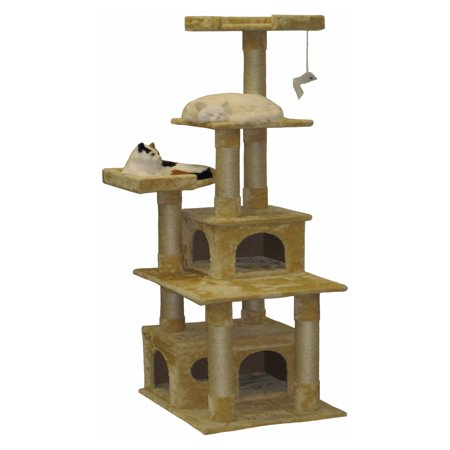 Go Pet Club 67 in. Beige Double Condo House Cat Tree  F204