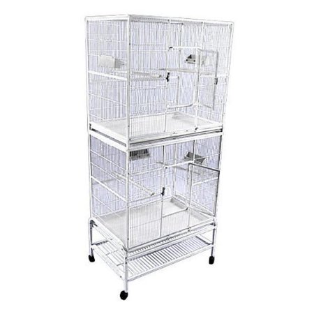 A and E Double Stack Flight Bird Cage White