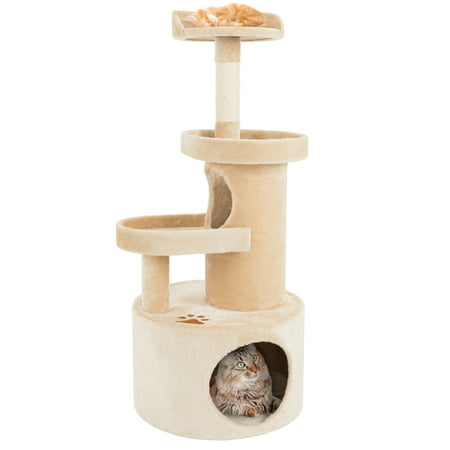 Cat Tree Condo with Tunnel 4 tier 43 high with scratching post tan