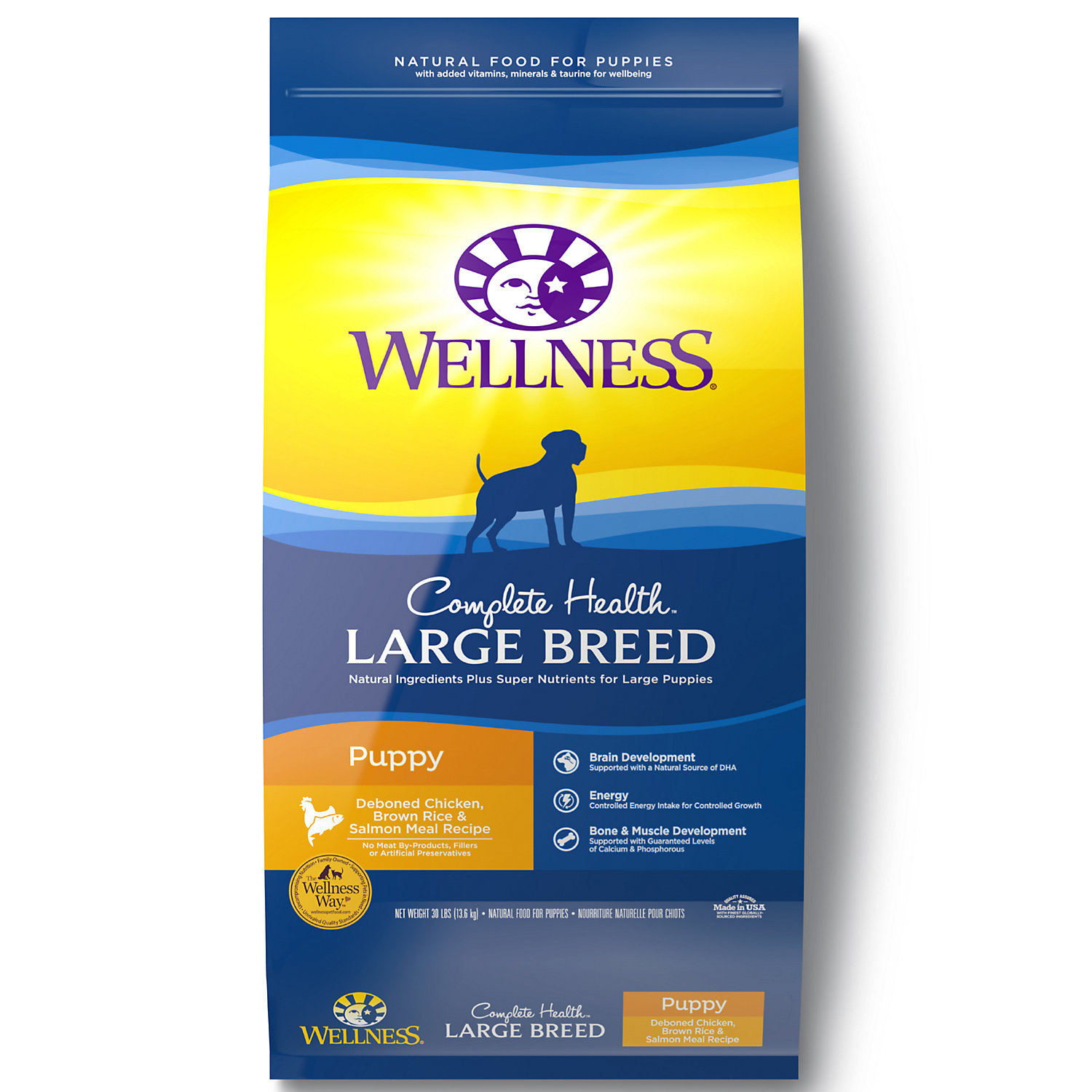 Wellness Complete Health Chicken Brown Rice and Salmon Meal Large Breed Puppy Food 30 lbs.