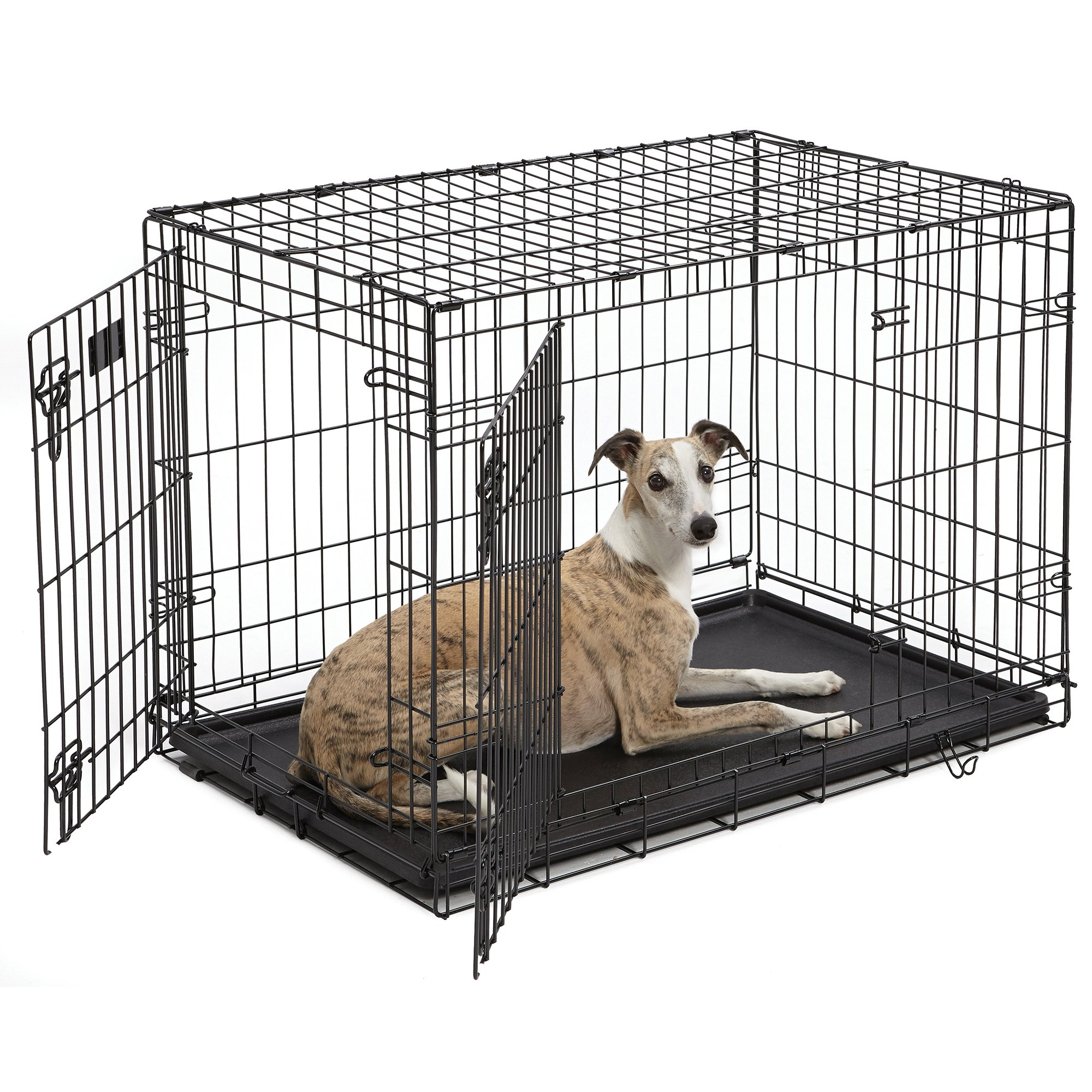 Midwest iCrate Double Door Folding Dog Crate 36 L X 23 W X 25 H MediumLarge Black