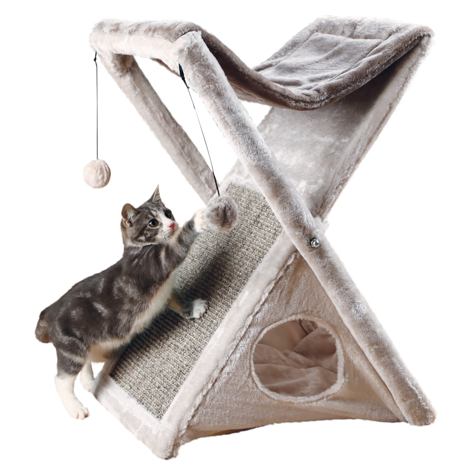 Trixie Miguel Fold and Store Cat Tower 25.5 H 11 LB Gray