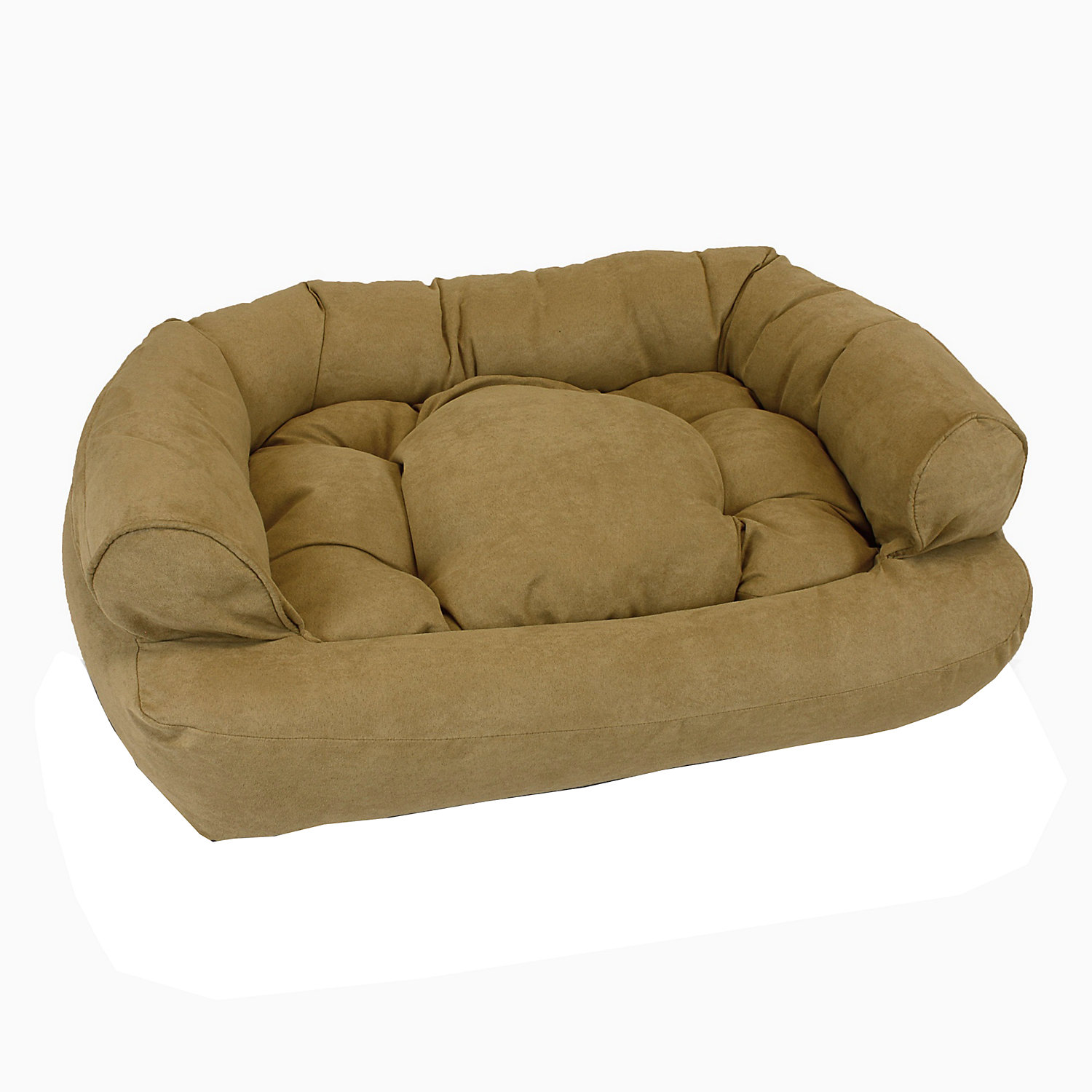 Snoozer Luxury Micro Suede Overstuffed Pet Sofa in Camel 30 L x 40 W Large