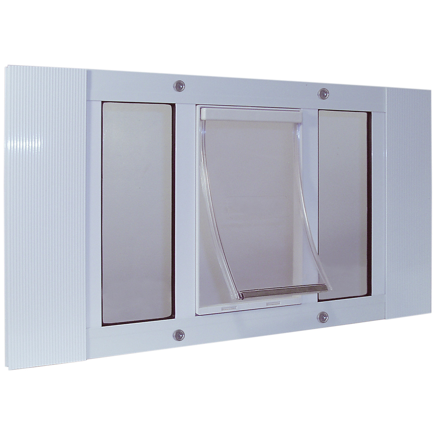 Perfect Pet 3338 Sash Window Pet Door in White 12.5625IN x 1.75IN x 27IN Medium