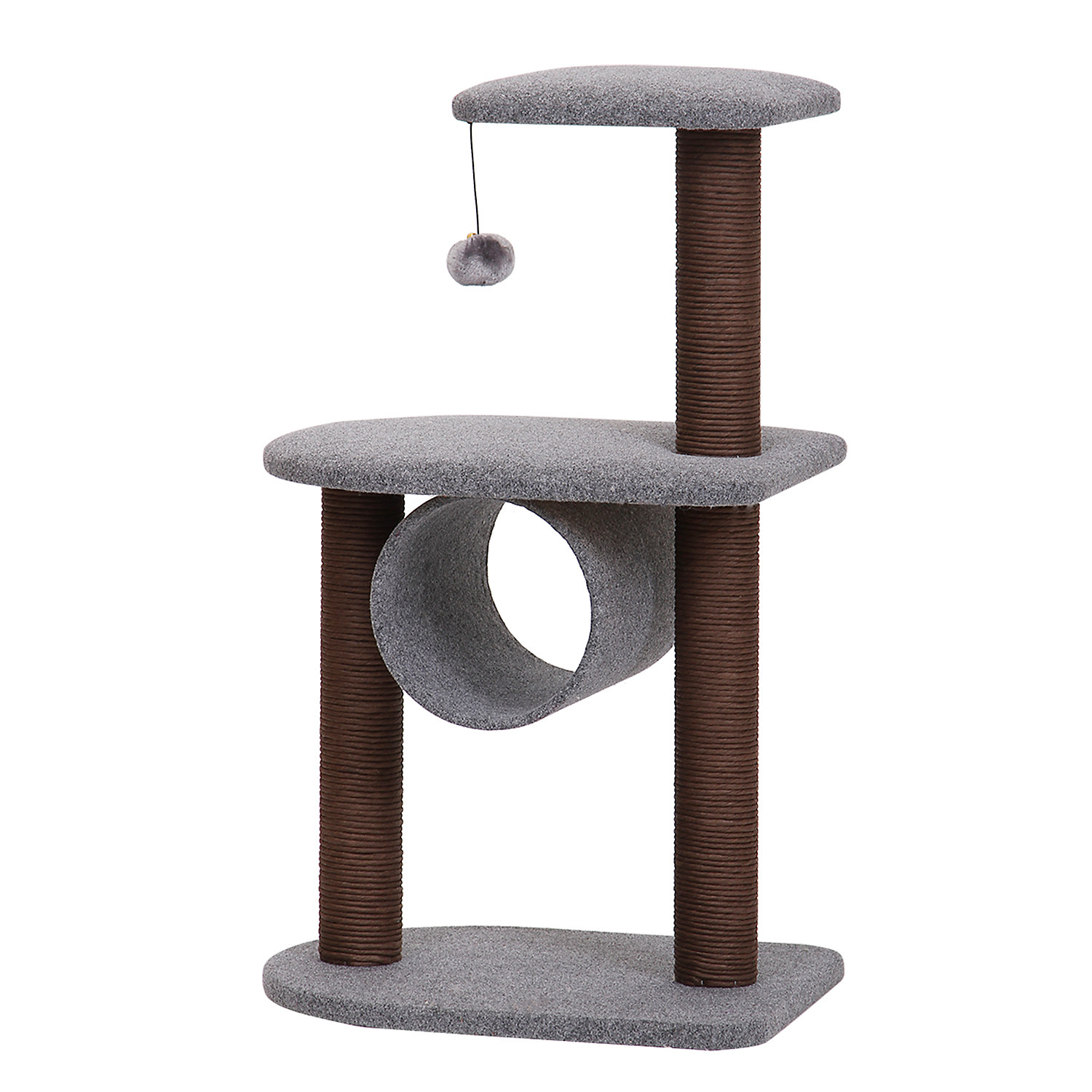 PetPals Grey and Chocolate Cat Tree with Hanging Toy