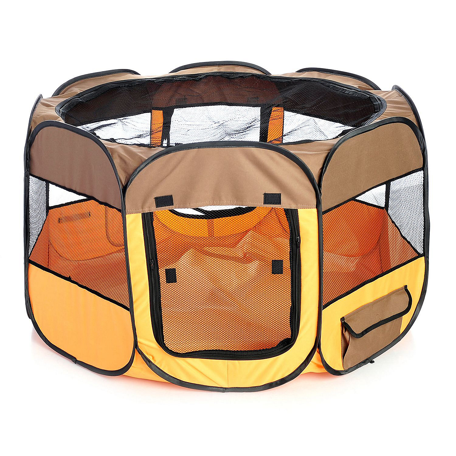 Pet Life All Terrain Lightweight Easy Folding Wire Framed Collapsible Travel Pet Playpen Brown And Orange
