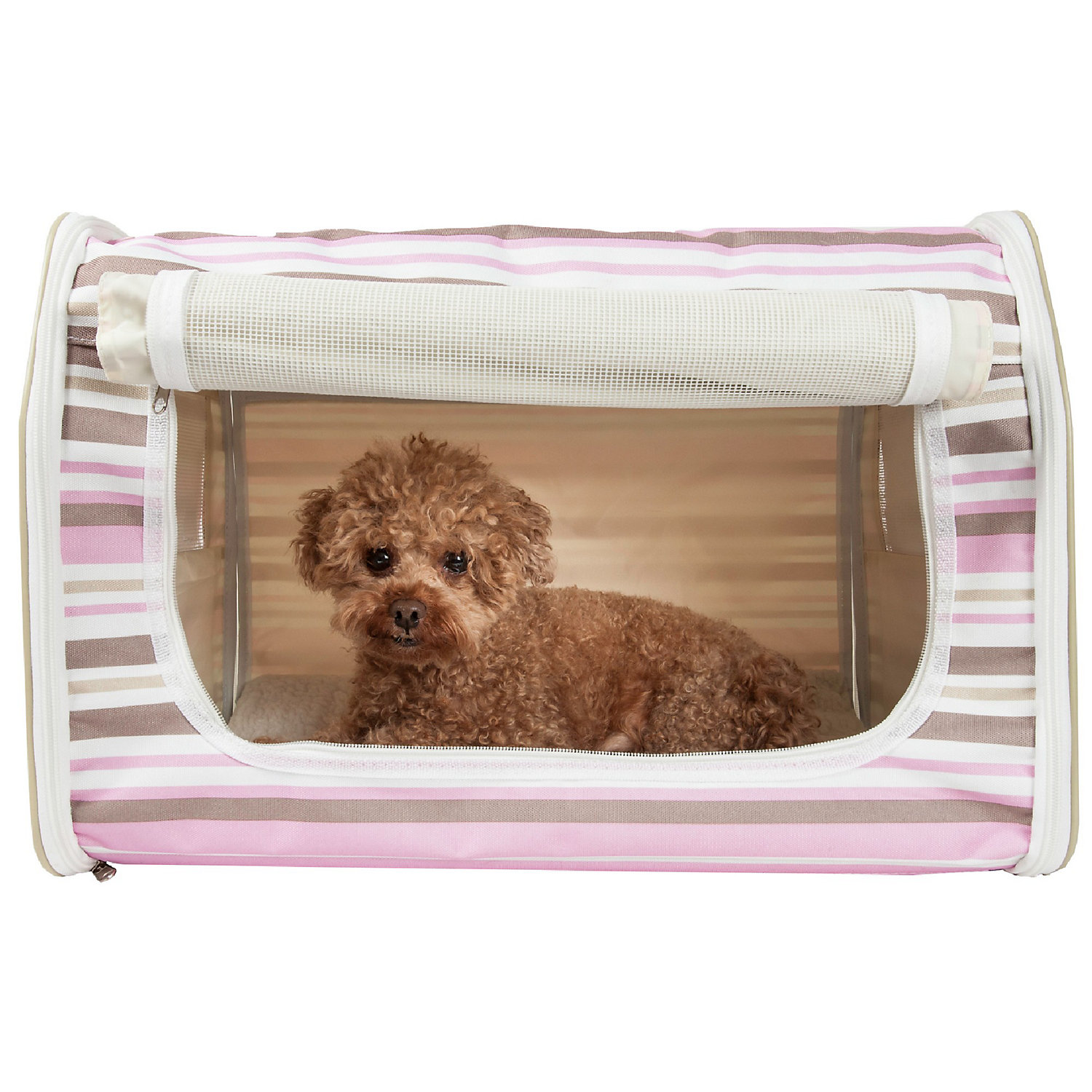 Pet Life Folding Zippered Lightweight WireFramed Easy Folding Pet Crate  Medium  Stripe Pattern Pink  White