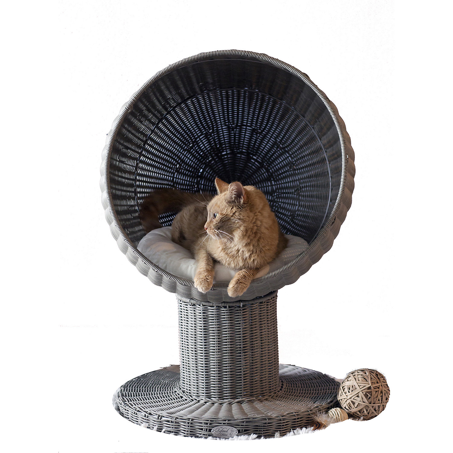 The Refined Feline Kitty Ball Bed In Smoke