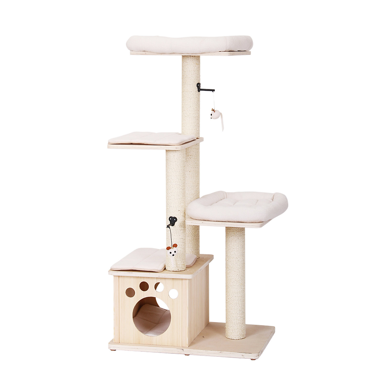PetPals Group Abode Natural Wood Four Level Cat Tree With Condo 28 L X 20 W X 56 H 41 LB OffWhite  OffWhite