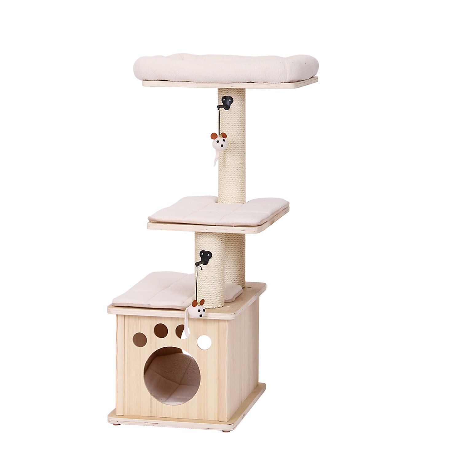 PetPals Group Aura Natural Wood Three Level Cat Tree With Condo 20 L X 16 W X 43 H 31 LB OffWhite  OffWhite