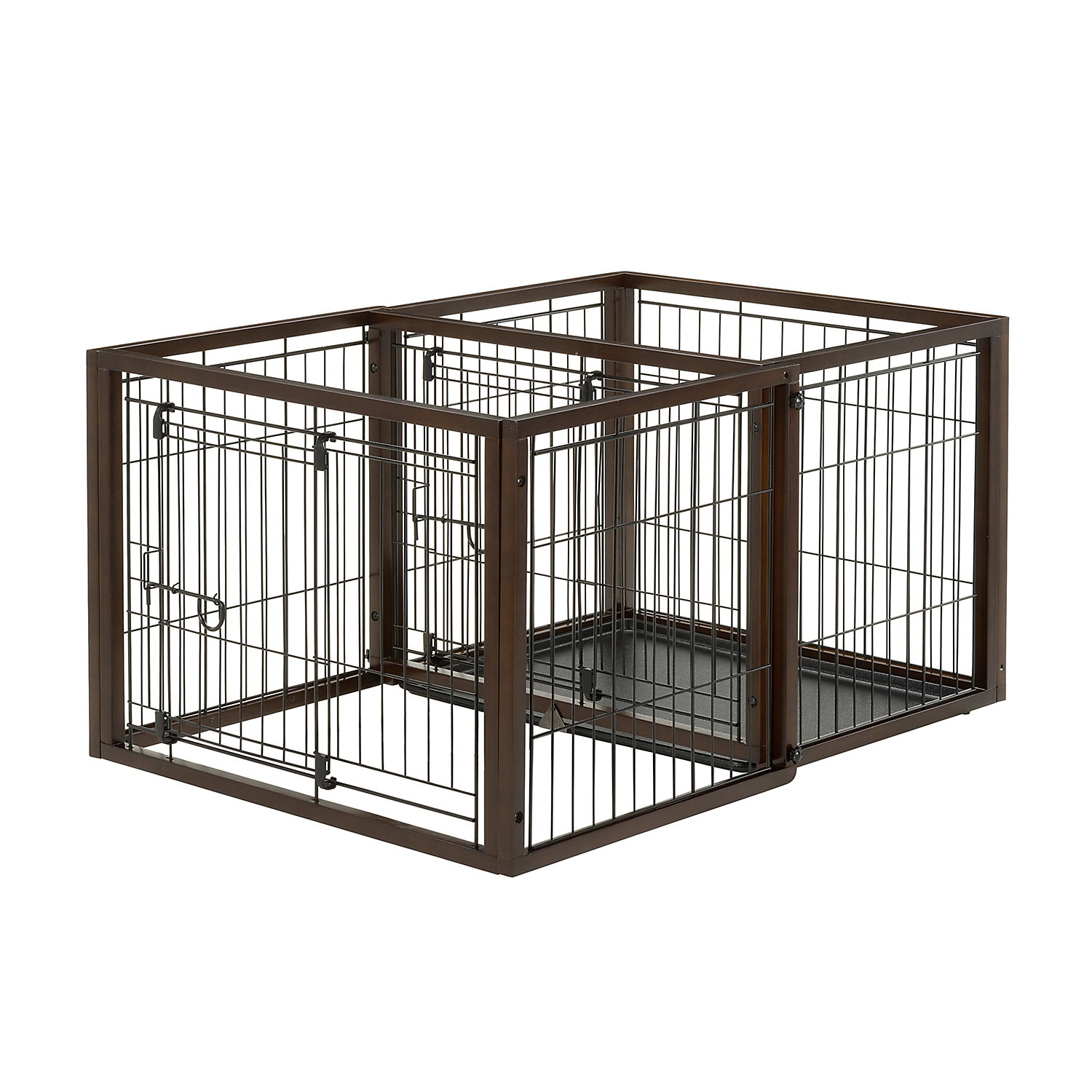 Richell Flip To Play Pet Crate 43.7 x 24.4 x 31.9 Small Brown