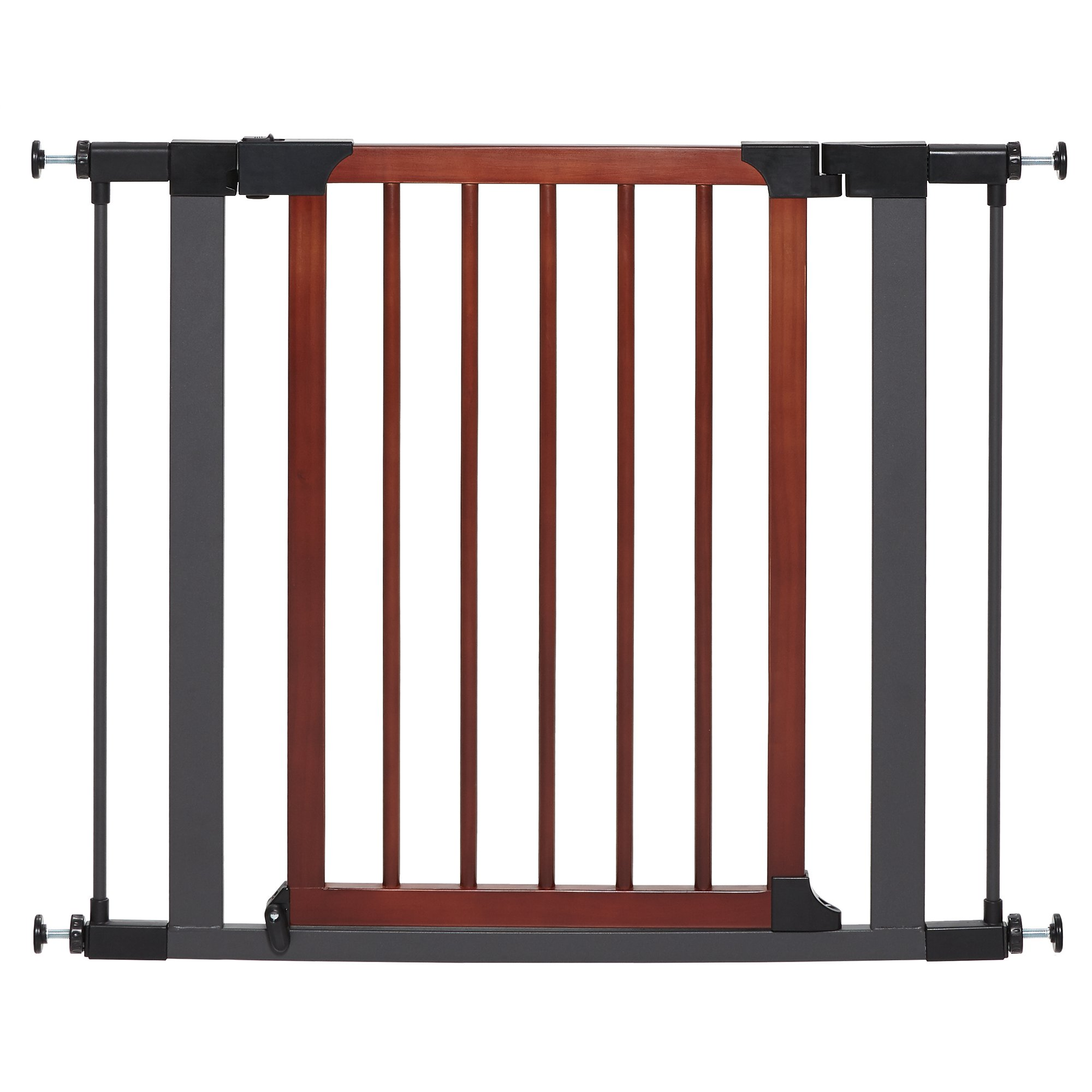 Midwest WalkThru Steel Pet Gate with Textured Graphite Frame  Decorative Wood Door 29H Large  Tall Gray