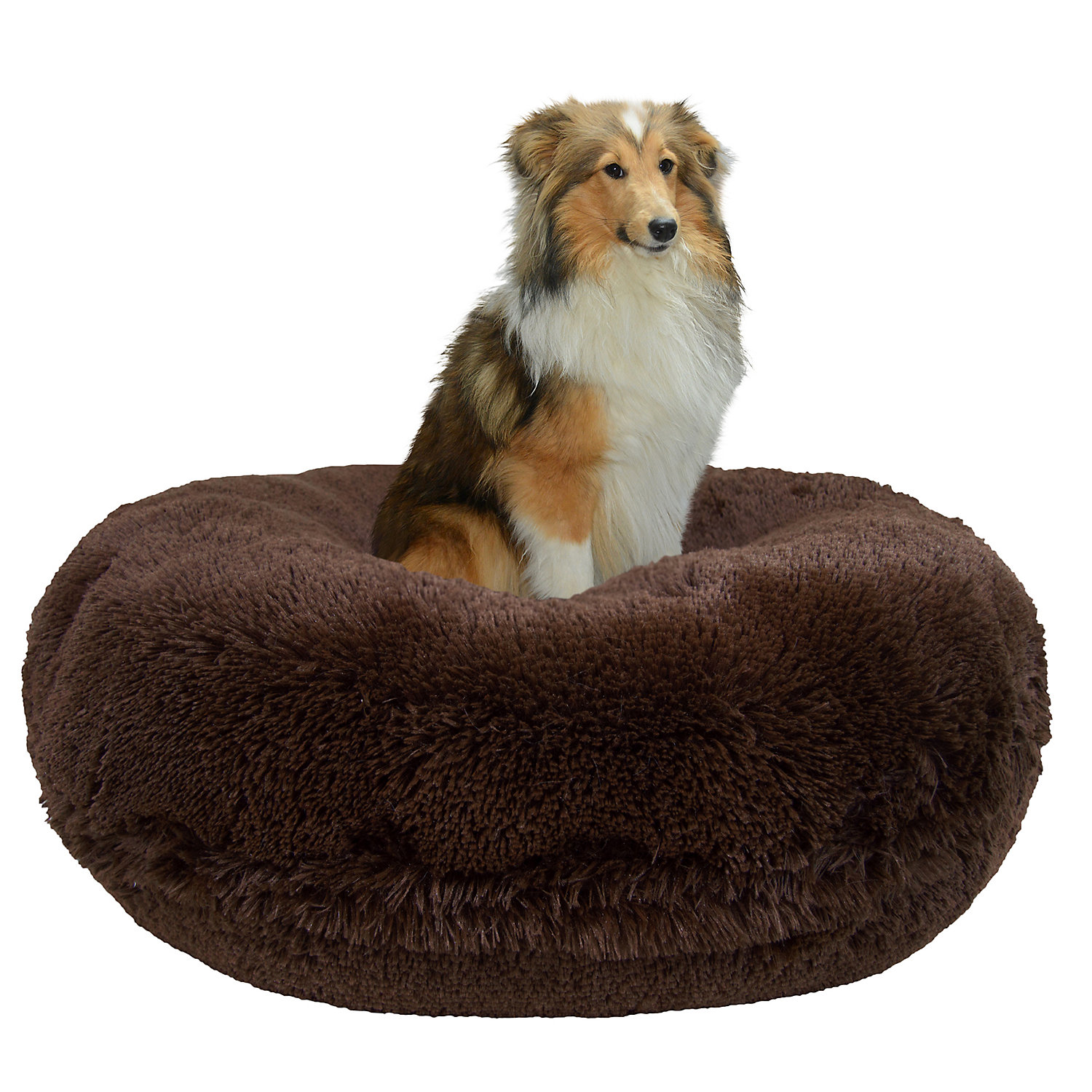 Bessie  Barnie Extra Plush Faux Fur Bagel Pet Grizzly Bear Dog Bed