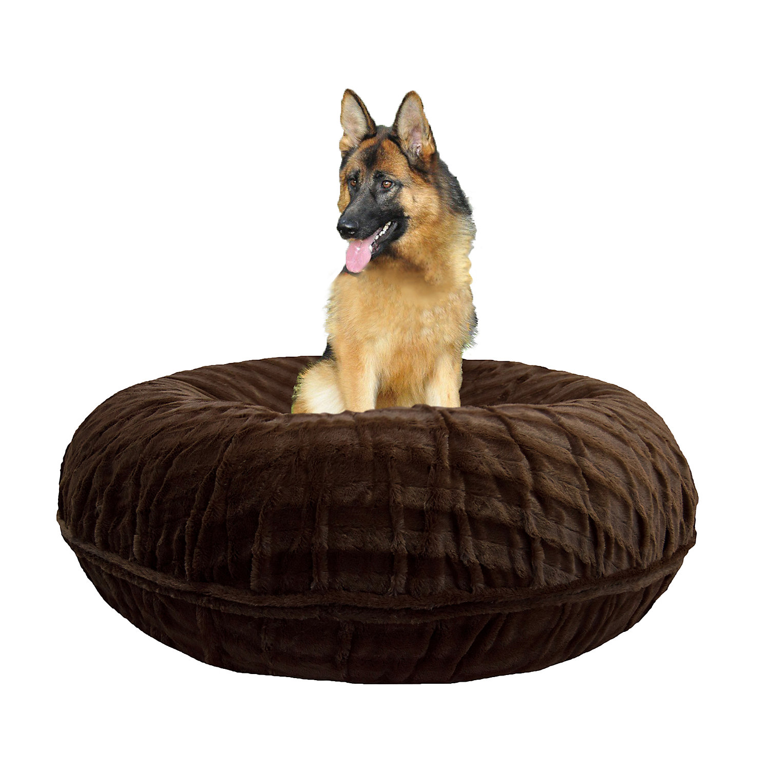 Bessie  Barnie Extra Plush Faux Fur Bagel Pet Godiva Brown Dog Bed