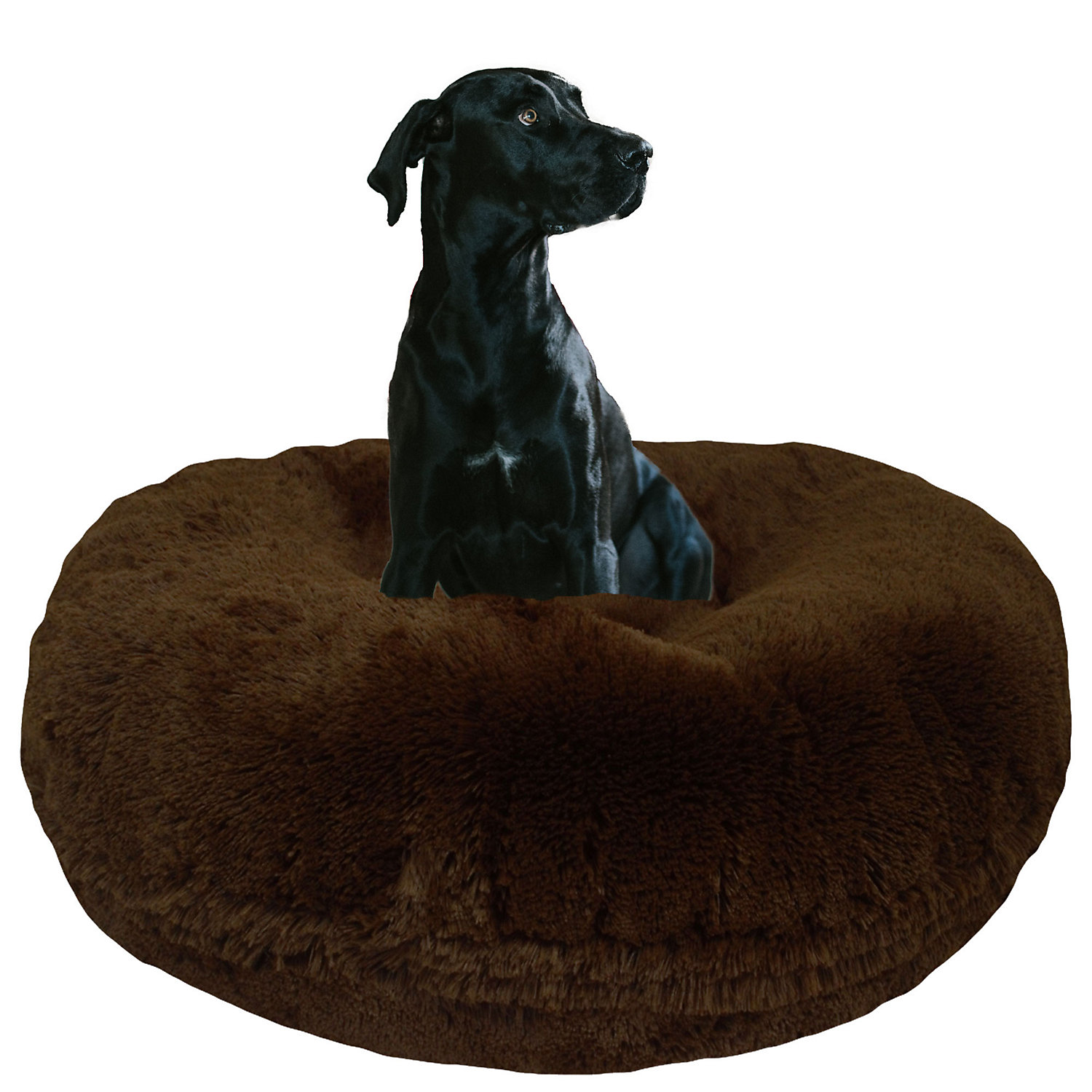 Bessie  Barnie Extra Plush Faux Fur Bagel Pet Grizzly Bear Dog Bed 50 x 50 XLarge Brown