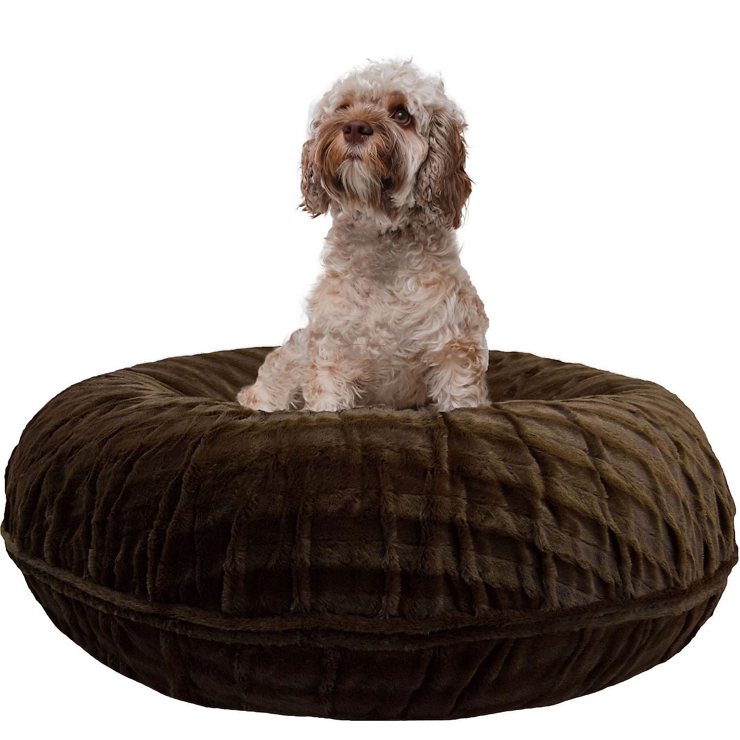 Bessie  Barnie Extra Plush Faux Fur Bagel Pet Godiva Brown Dog Bed 30 x 30 Small