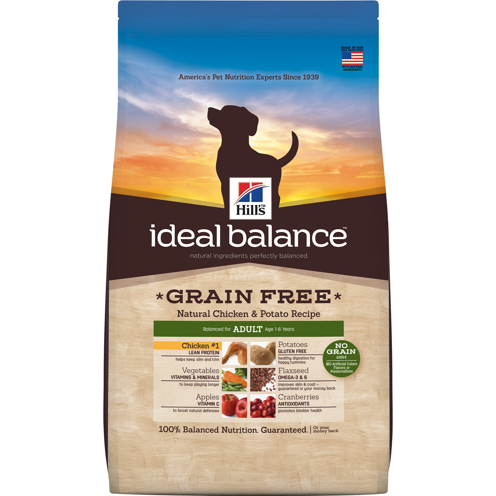 Hills Ideal Balance Adult Grain Free Natural Chicken  Potato Recipe Dry Dog Food 21 lbs. Bag